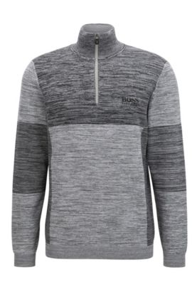 'Zadok Pro' | Colorblocked Melange Stretch Cotton Half-Zip Sweater, Light Grey