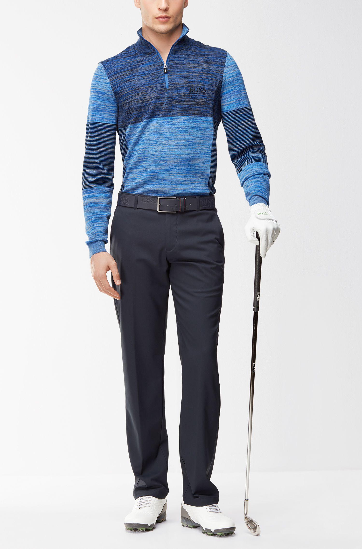 Colorblocked Melange Stretch Cotton Half-Zip Sweater   Zadok Pro, Blue