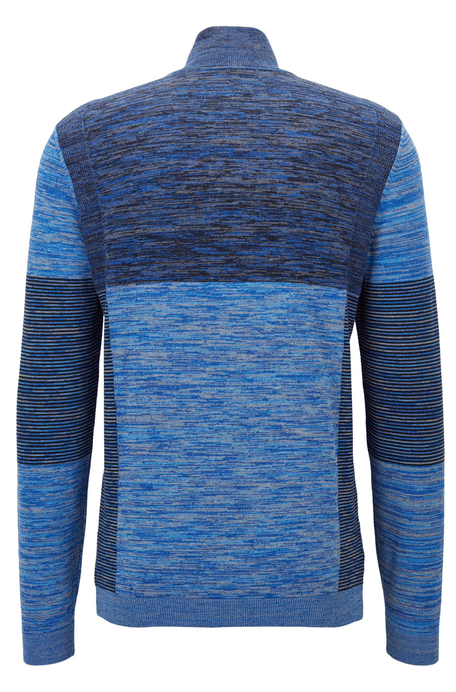 Colorblocked Melange Stretch Cotton Half-Zip Sweater | Zadok Pro