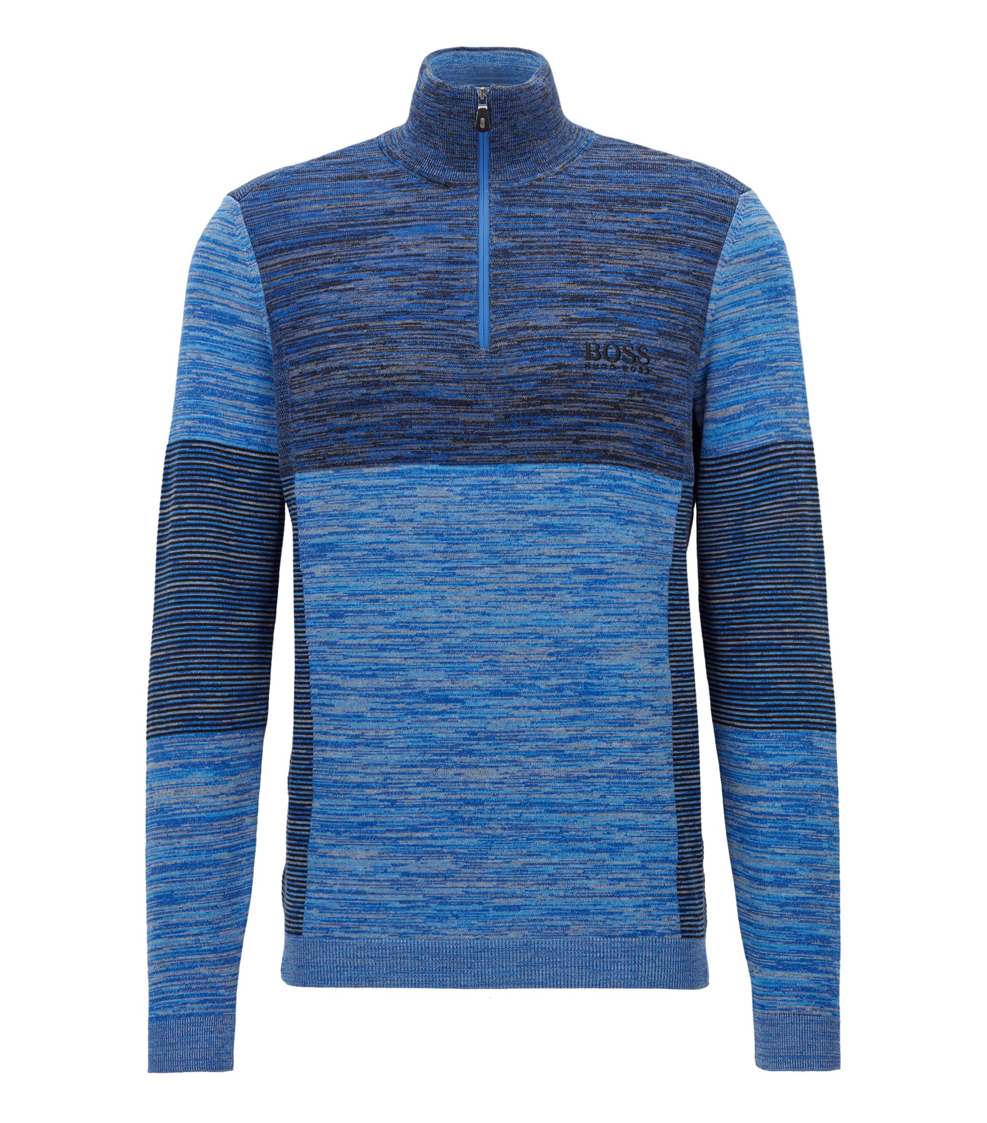 Colorblocked Melange Stretch Cotton Half-Zip Sweater | Zadok Pro, Blue