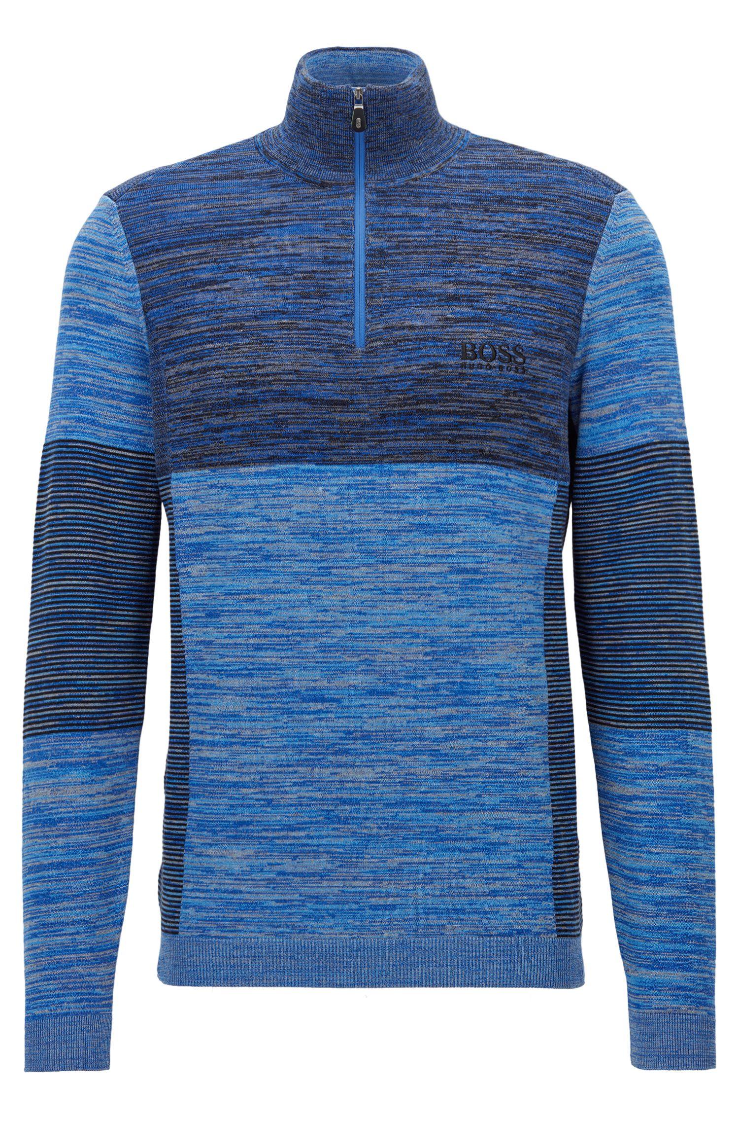 Colorblocked Melange Stretch Cotton Half-Zip Sweater | Zadok Pro