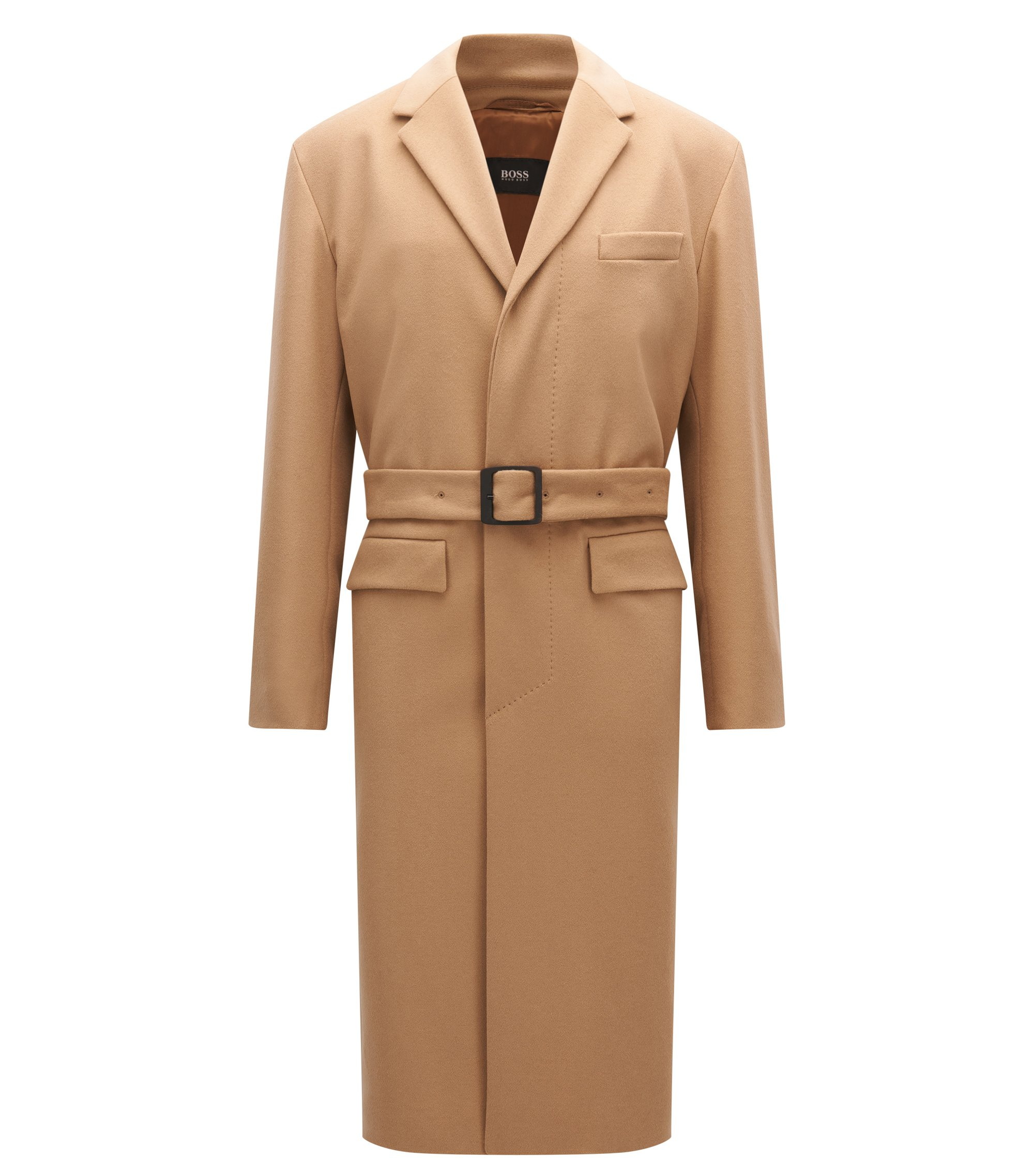 Virgin Wool Cashmere Long Coat | Netuno, Beige