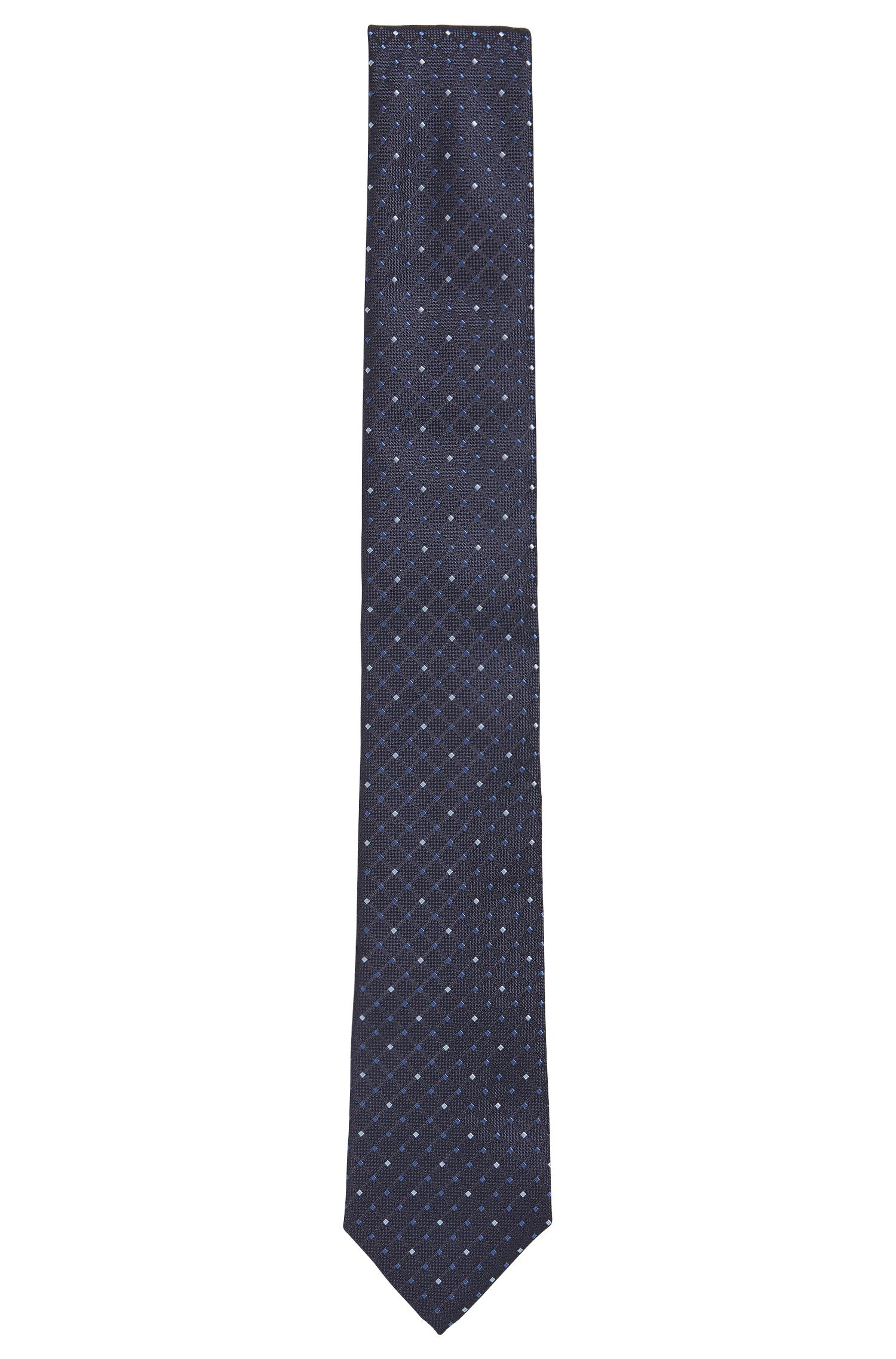 BOSS Tailored Diamond Jacquard Silk Slim Tie, Dark Blue