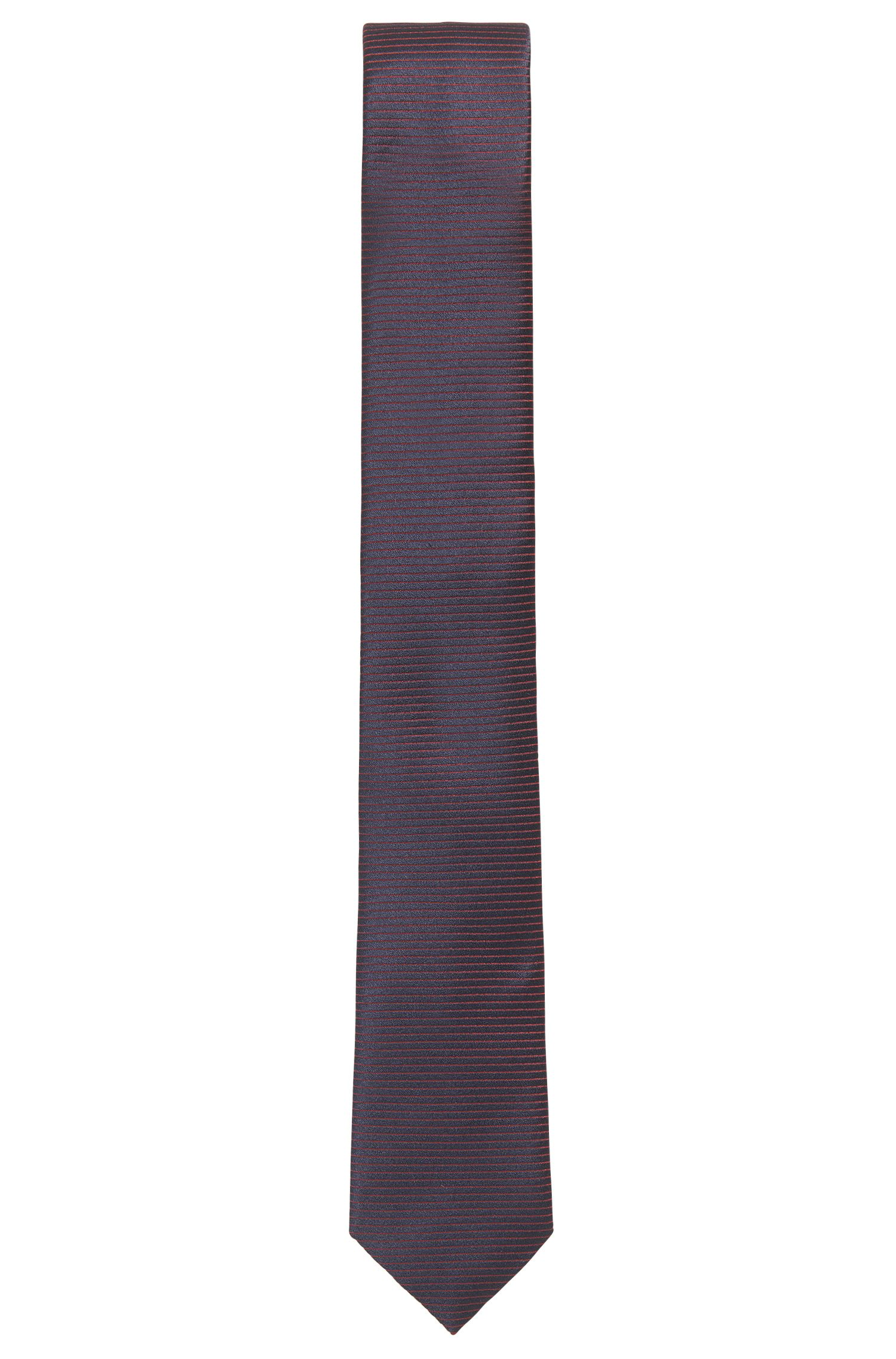 BOSS Tailored Striped Italian Silk Slim Tie, Dark Red