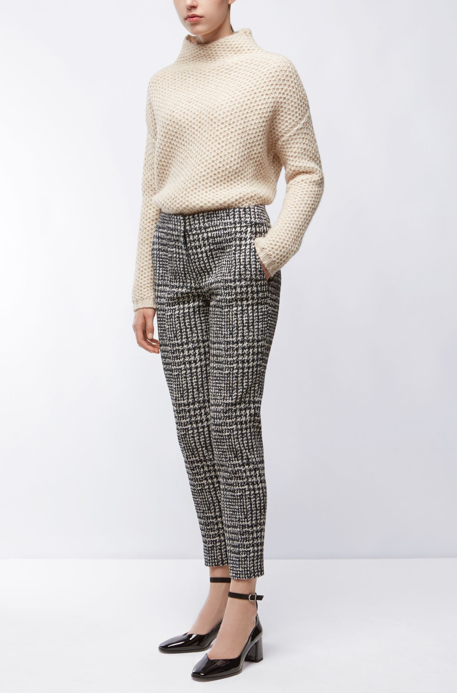 Houndstooth Cropped Suiting Pant | Hevas, Patterned