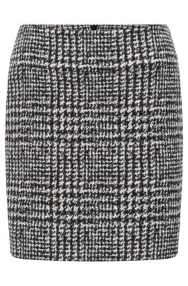 'Romis' | Houndstooth Bouclé Mini Skirt, Patterned