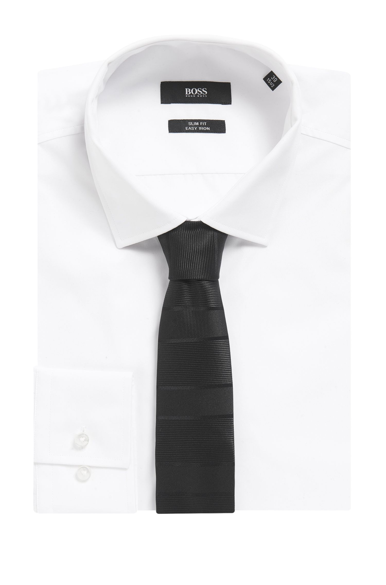 BOSS Tailored Stripe Silk Repp Slim Tie, Black