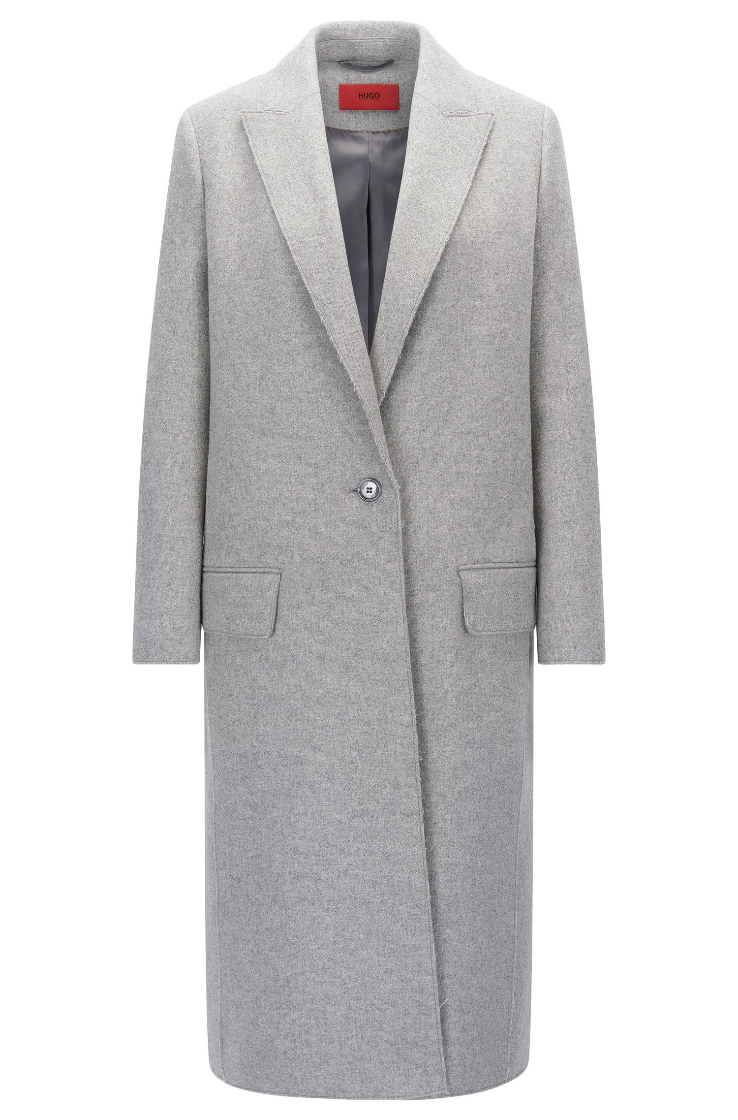 Wool Blend Long Coat | Maleni, Open Grey