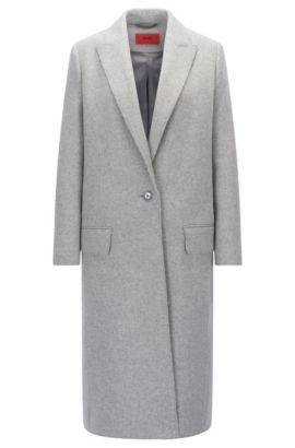'Maleni' | Wool Blend Long Coat, Open Grey