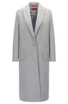 'Maleni' | Wool Blend Long Coat, Open Grey