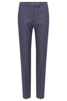 'Harile' | Regular Fit, Geometric Stretch Cotton Pants, Patterned