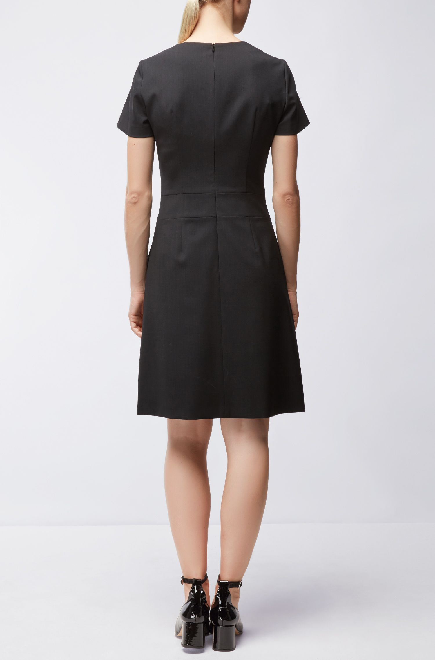 Stretch Virgin Wool Dress | Kajella, Black