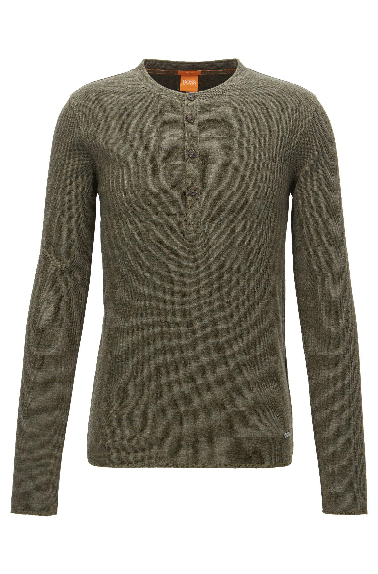 'Topsider' | Cotton Henley Shirt, Dark Green