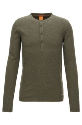 'Topsider' | Cotton Henley Shirt, Dark Green