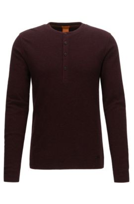 'Topsider' | Cotton Henley Shirt, Open Red