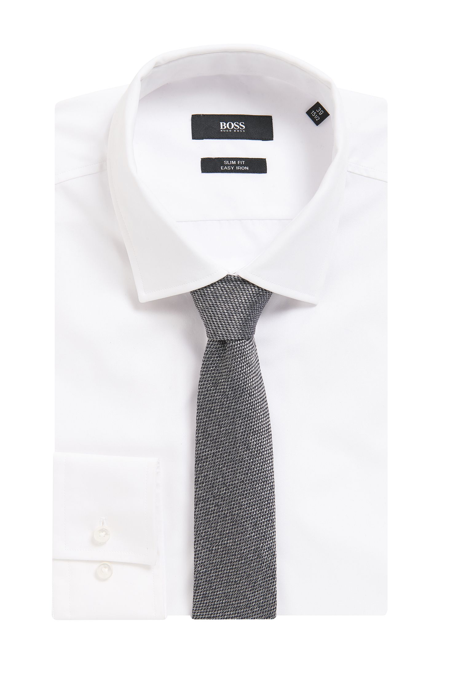 BOSS Tailored Sharkskin Italian Silk Slim Tie, Grey
