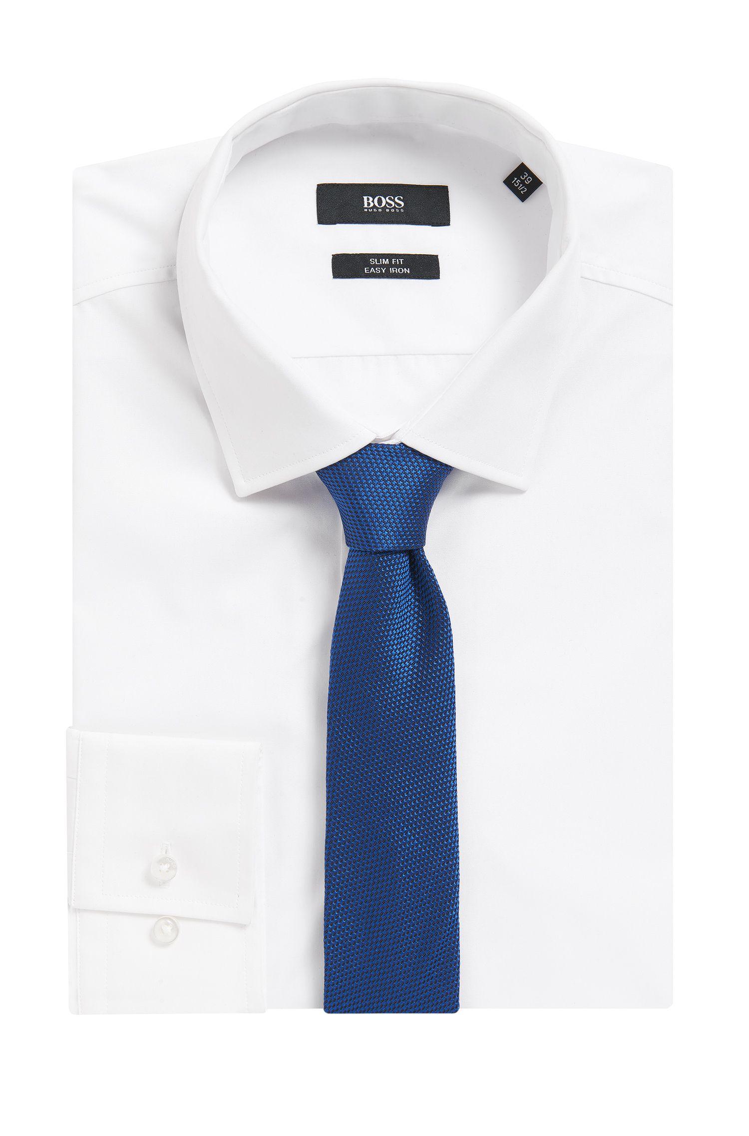 BOSS Tailored Sharkskin Italian Silk Slim Tie, Turquoise