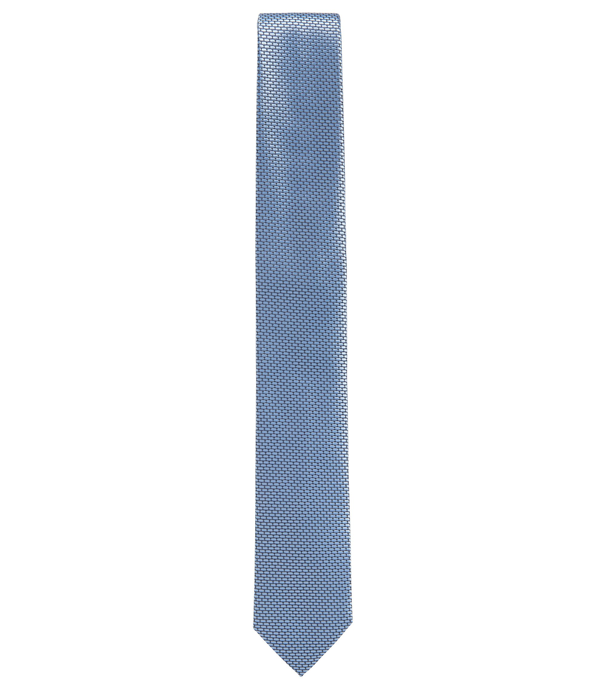 BOSS Tailored Textured Italian Silk Slim Tie, Dark Blue