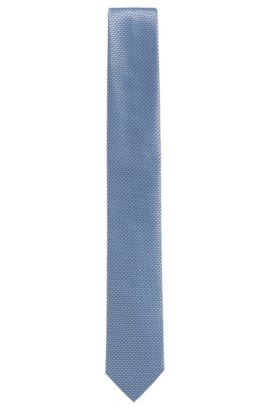 BOSS Tailored Textured Italian Silk Slim Tie, Dark Blue