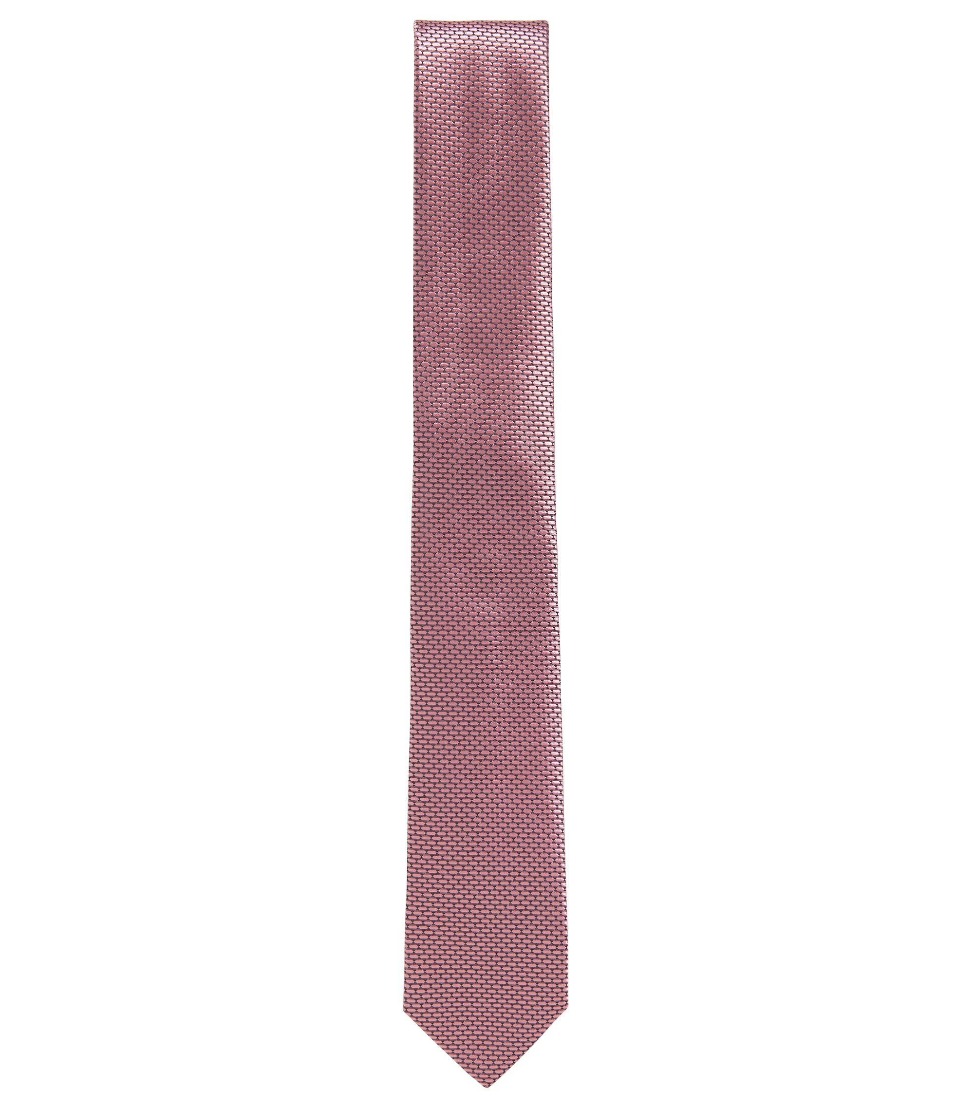 BOSS Tailored Textured Italian Silk Slim Tie, light pink
