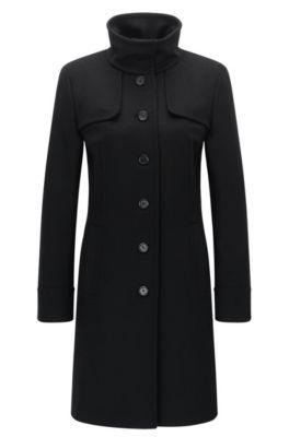 High Collar Virgin Wool Cashmere Coat   Mibelli, Black
