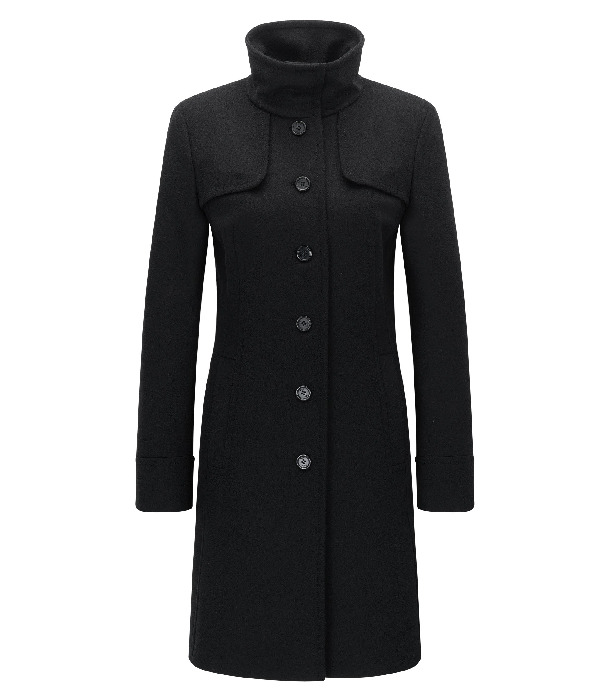 High Collar Virgin Wool Cashmere Coat | Mibelli, Black