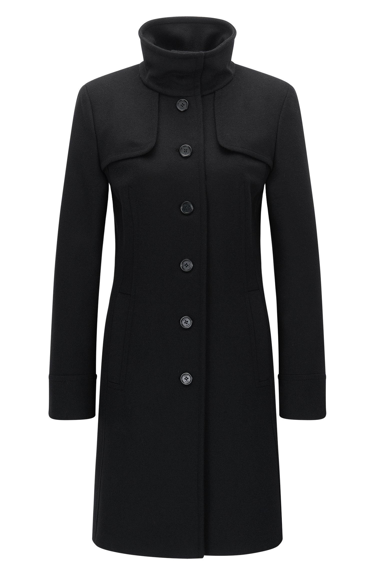 High Collar Virgin Wool Cashmere Coat | Mibelli, Black