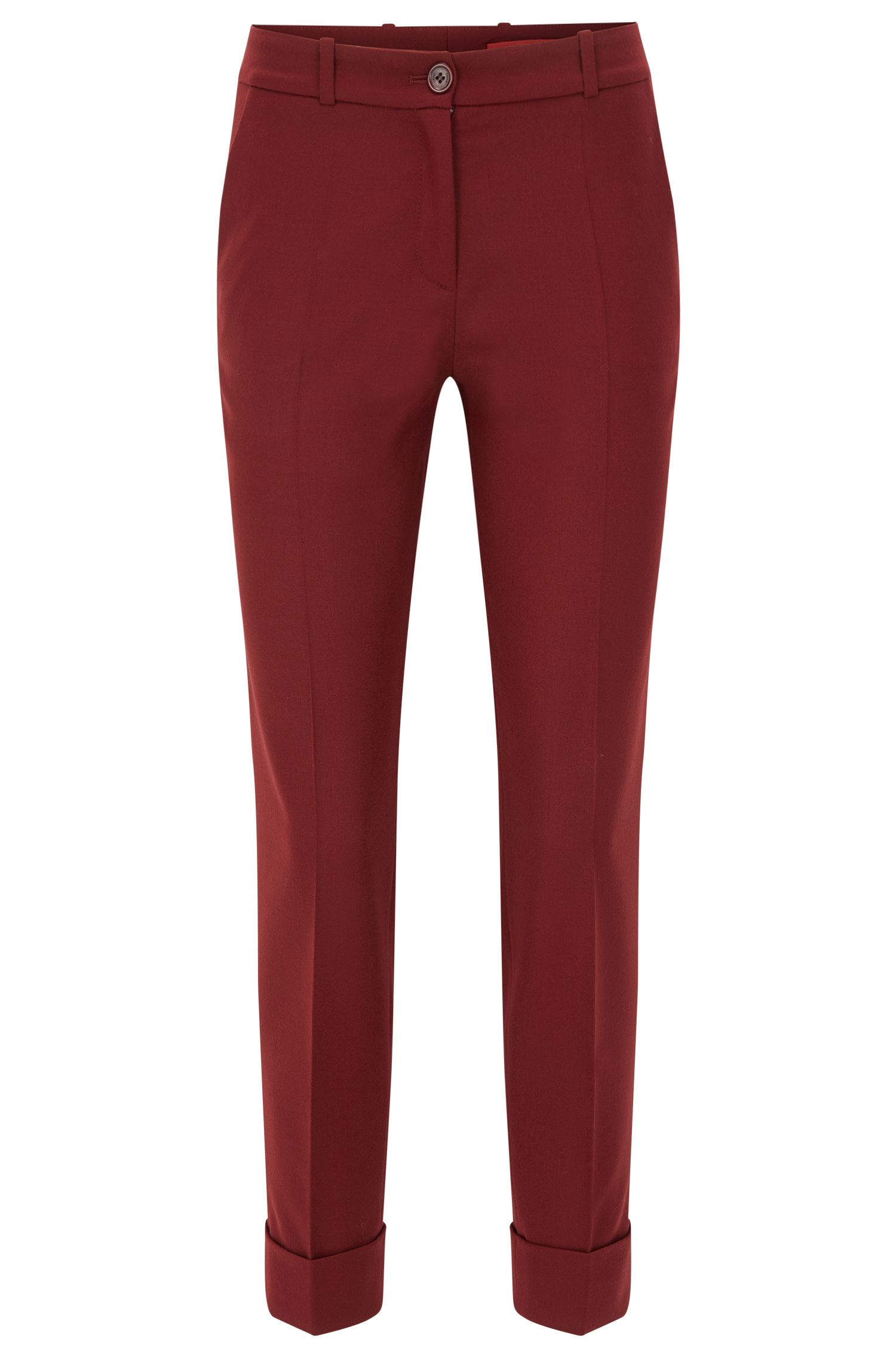 Stretch Virgin Wool Pant | Hulya, Dark Red