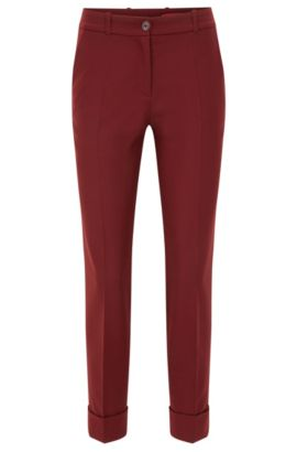 'Hulya' | Stretch Virgin Wool Pants, Dark Red