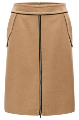 'Vumia' | Piped Virgin Wool-Cashmere Skirt, Light Brown