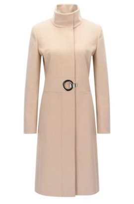 Virgin Wool Cashmere Coat | Mivana, Light Brown