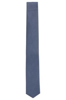 Check Silk Tie, Slim | Tie 6 cm Traveller, Dark Blue