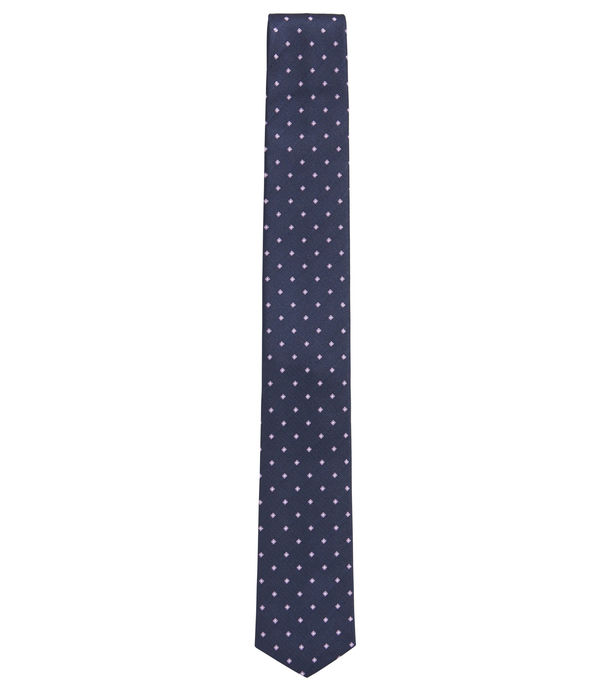 BOSS Traveler Checked Italian Silk Slim Tie, Blue