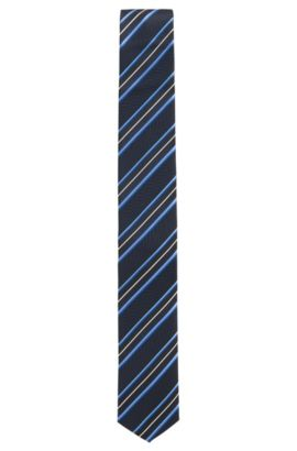 Traveller Striped Italian Silk Slim Tie, Dark Blue