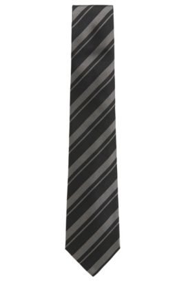 Striped Silk Tie, Regular | T-Tie 8 cm, Open Grey