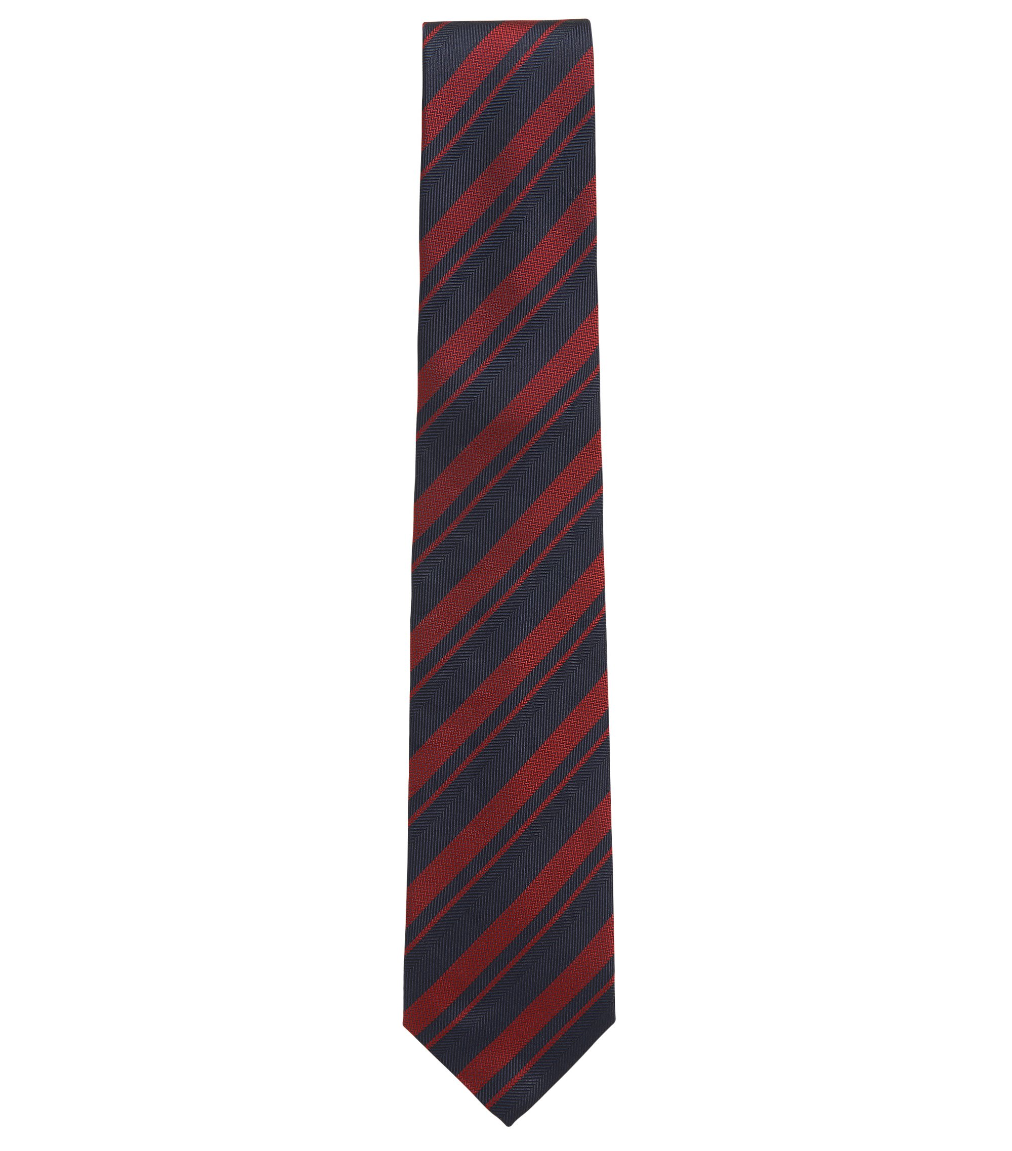 BOSS Tailored Striped Silk Slim Tie, Turquoise