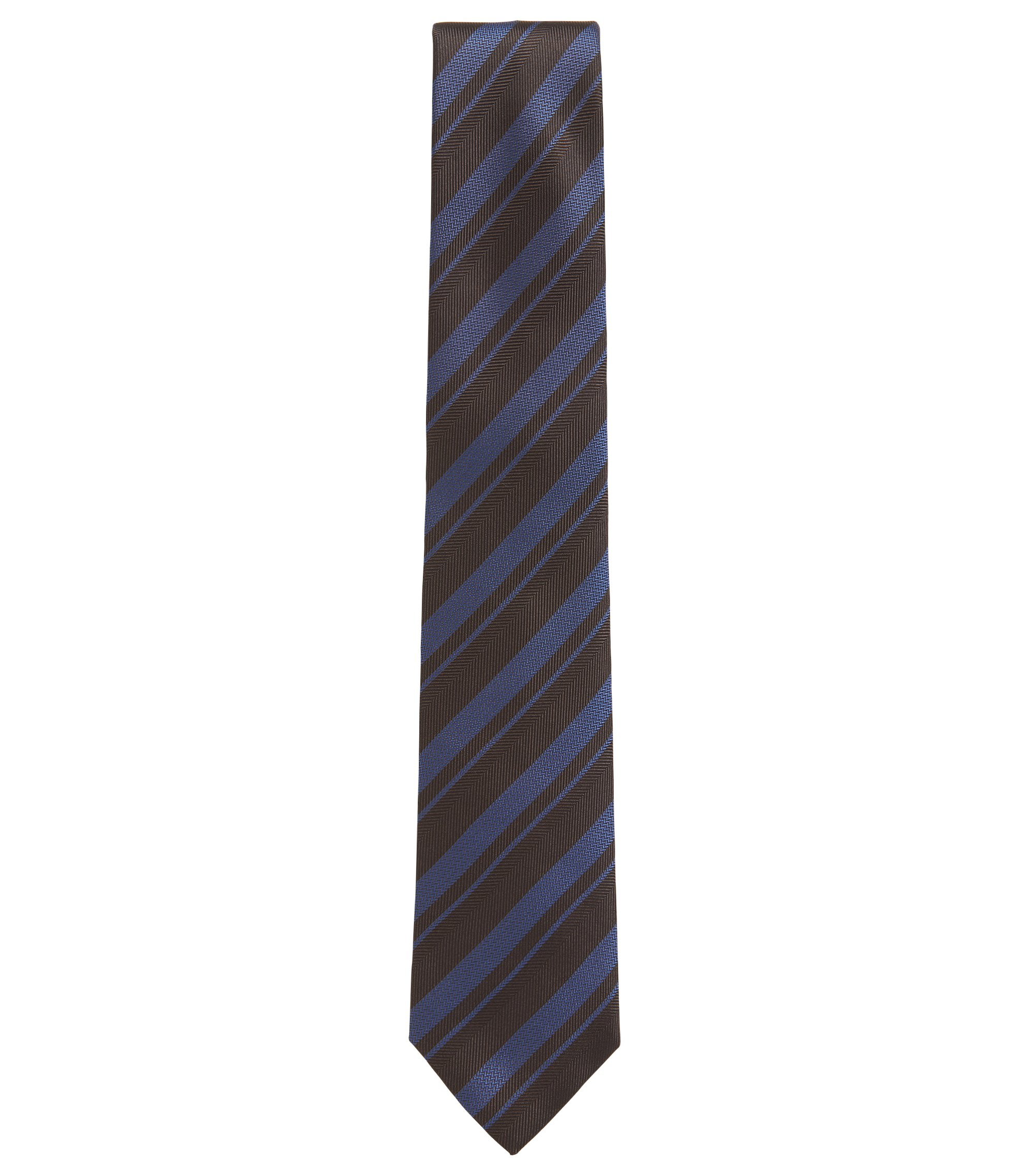 BOSS Tailored Striped Silk Slim Tie, Dark Purple