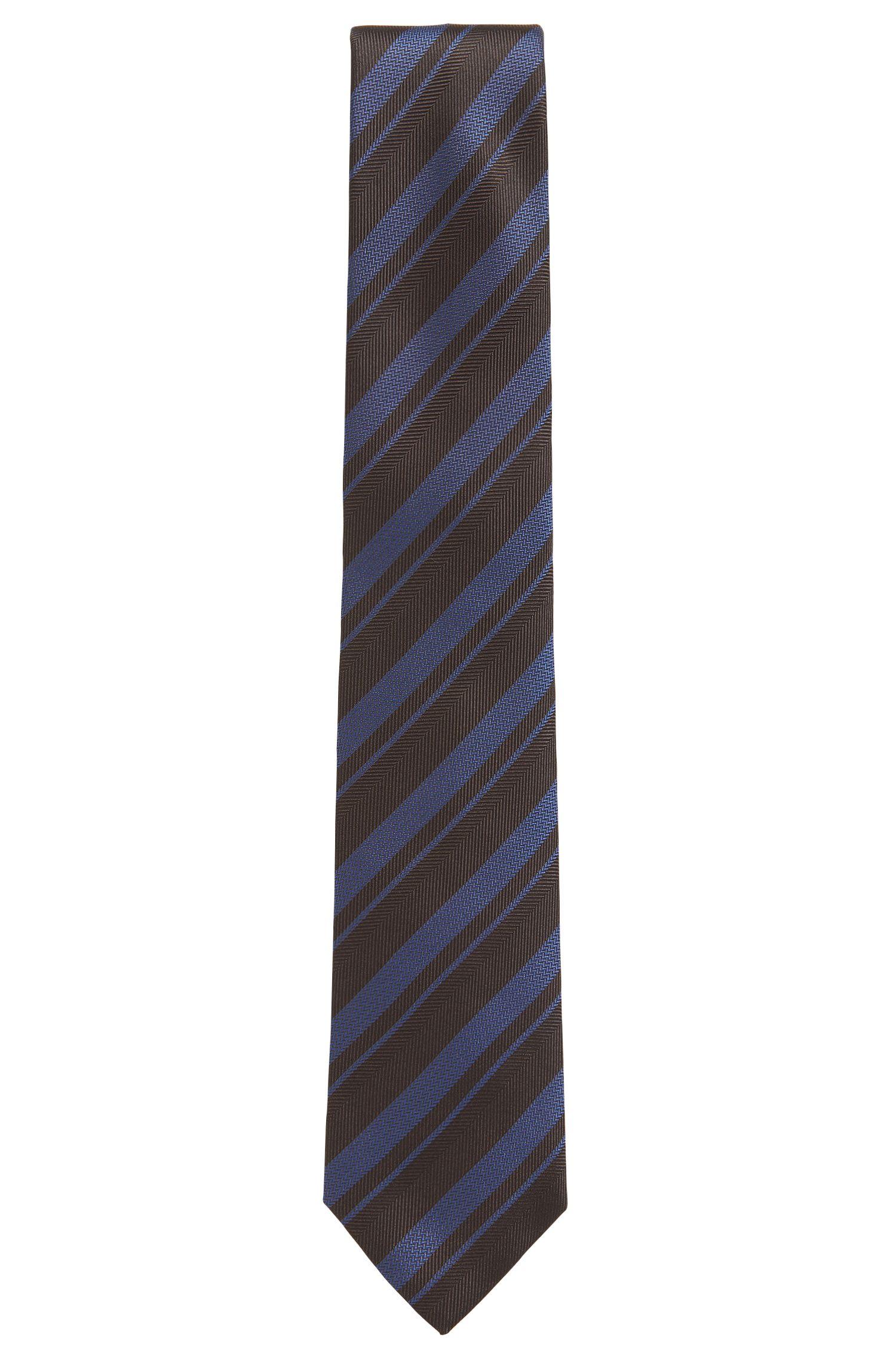 BOSS Tailored Striped Silk Slim Tie, Dark Purple