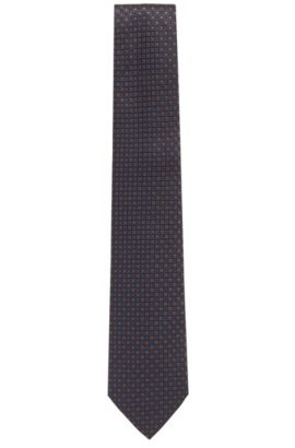 'T-Tie 8 cm' | Regular, Square Embroidered Italian Silk Tie , Brown