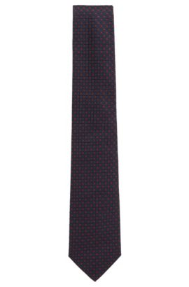 'T-Tie 8 cm' | Regular, Square Embroidered Italian Silk Tie , Red