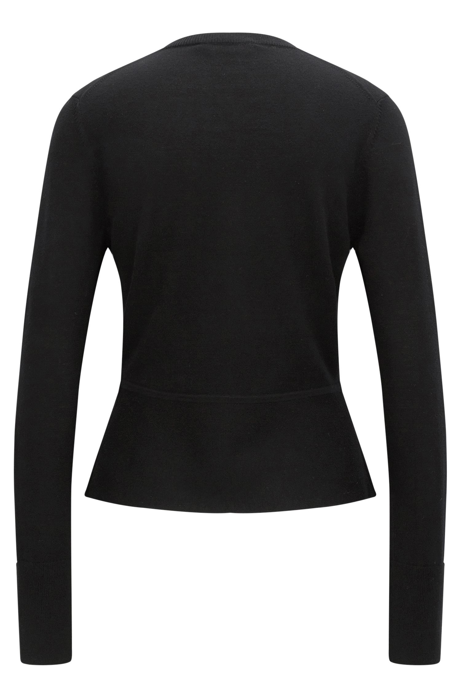 Peplum Merino Superfine Wool Sweater | Felija, Black