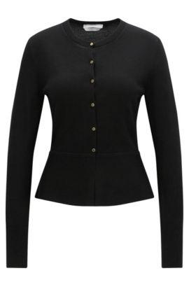 'Felija' | Peplum Merino Superfine Wool Sweater, Black