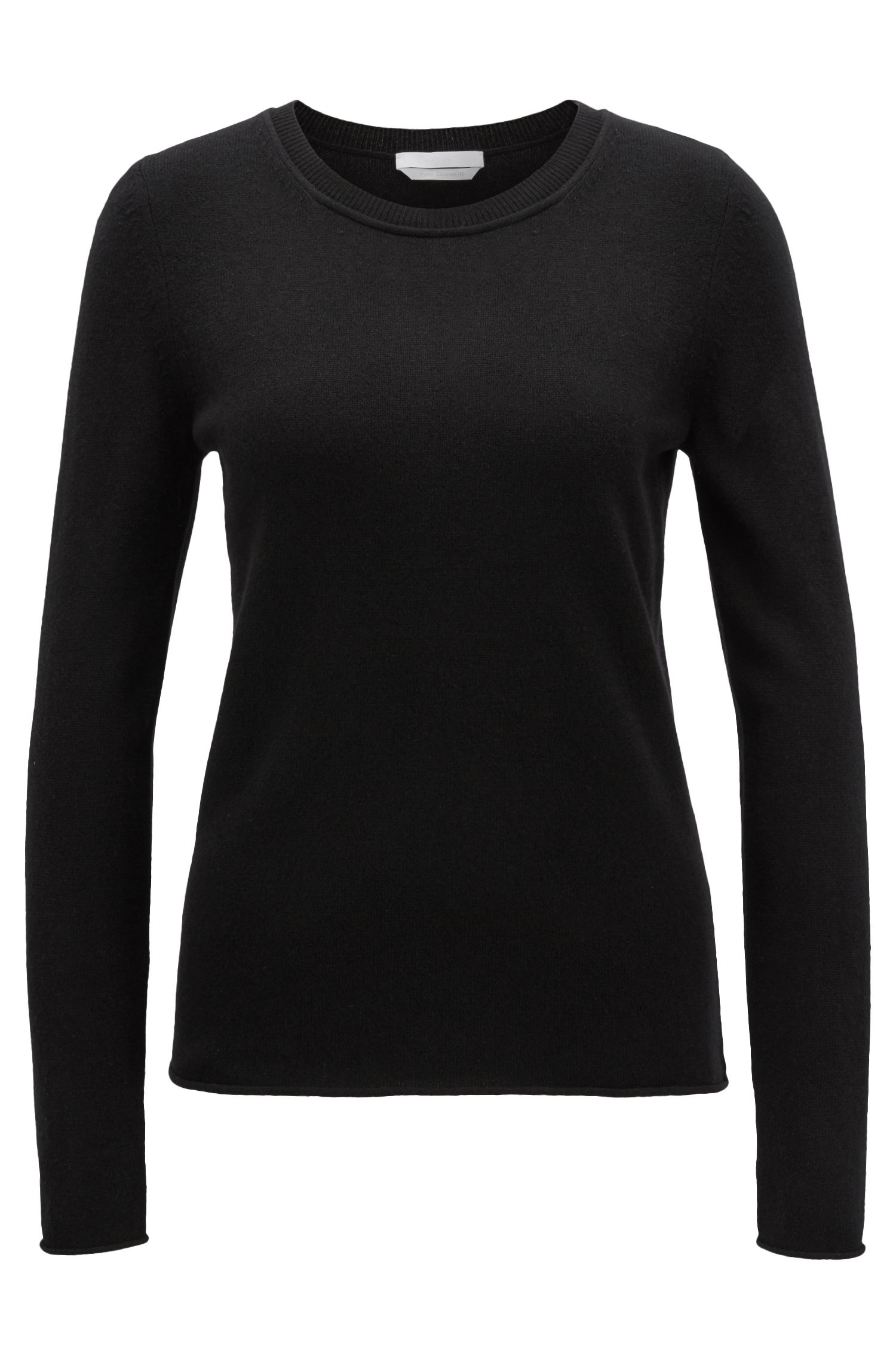 Cashmere sweater with rolled edges, Black