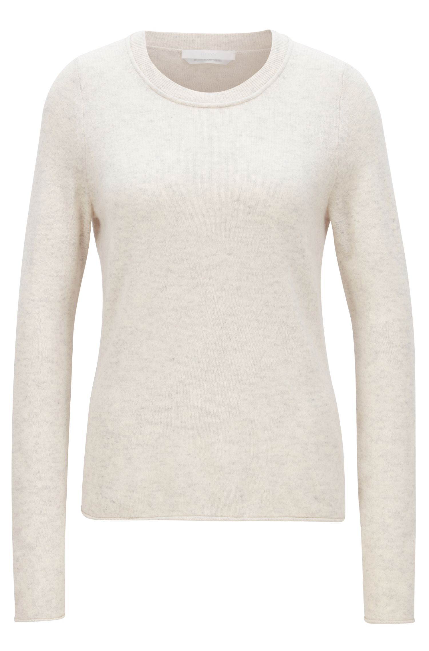 Cashmere sweater with rolled edges, Open White