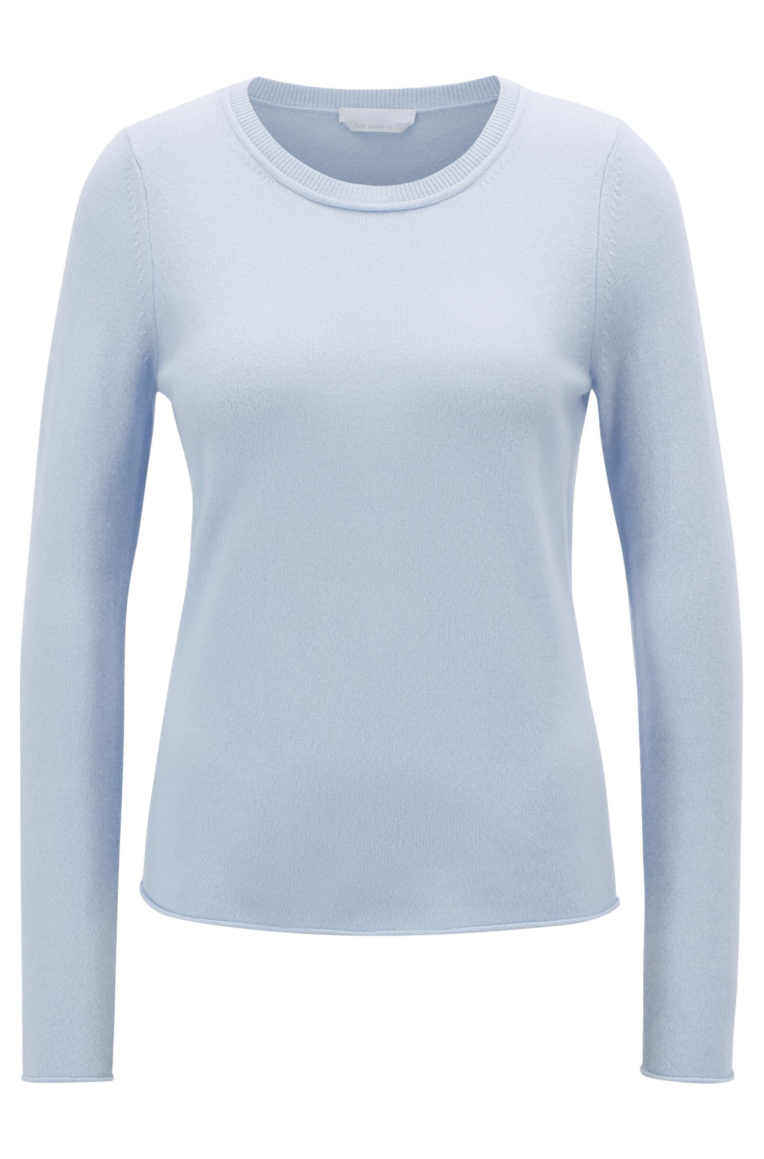 Cashmere sweater with rolled edges, Light Blue