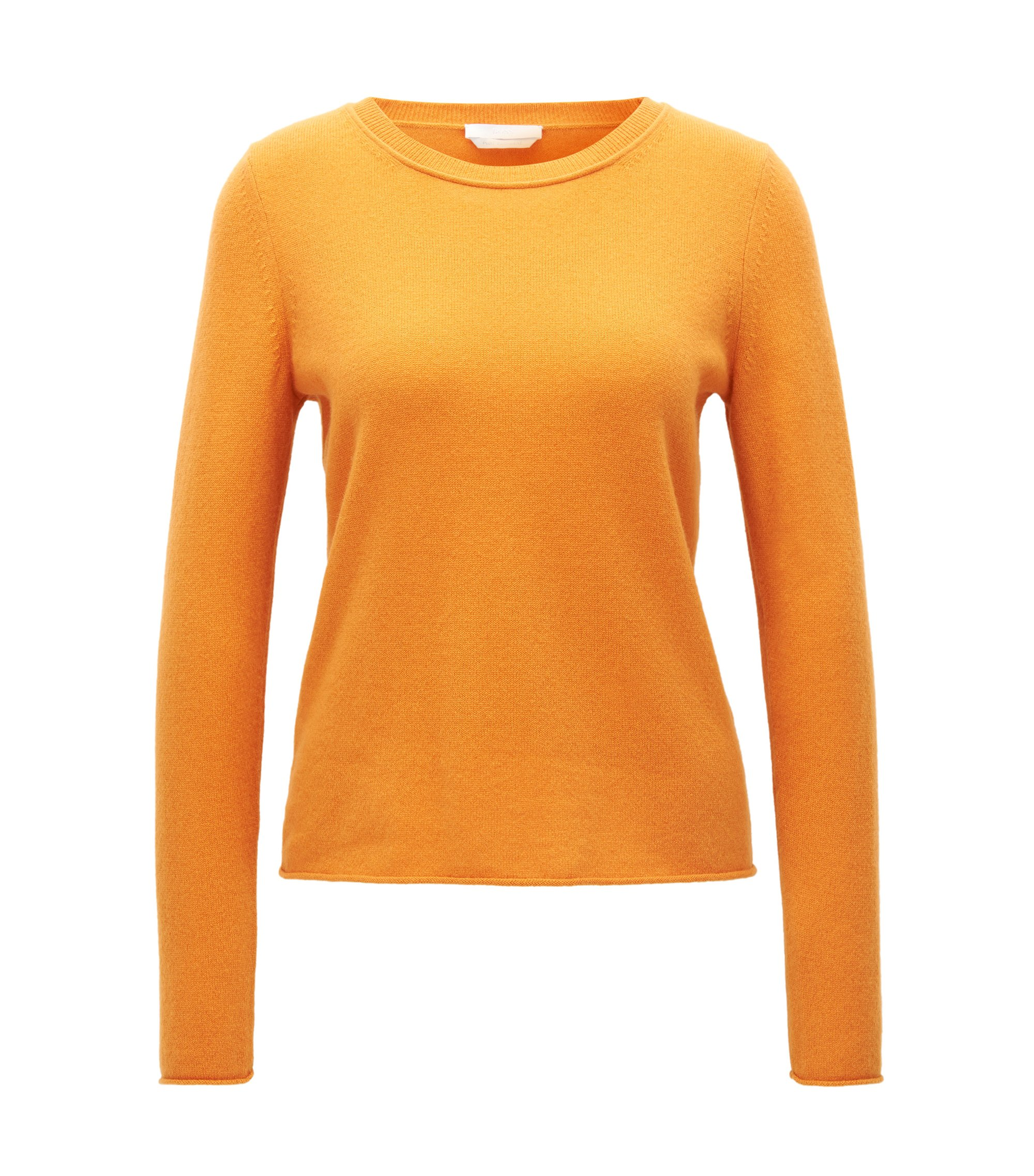 Cashmere sweater with rolled edges, Open Yellow