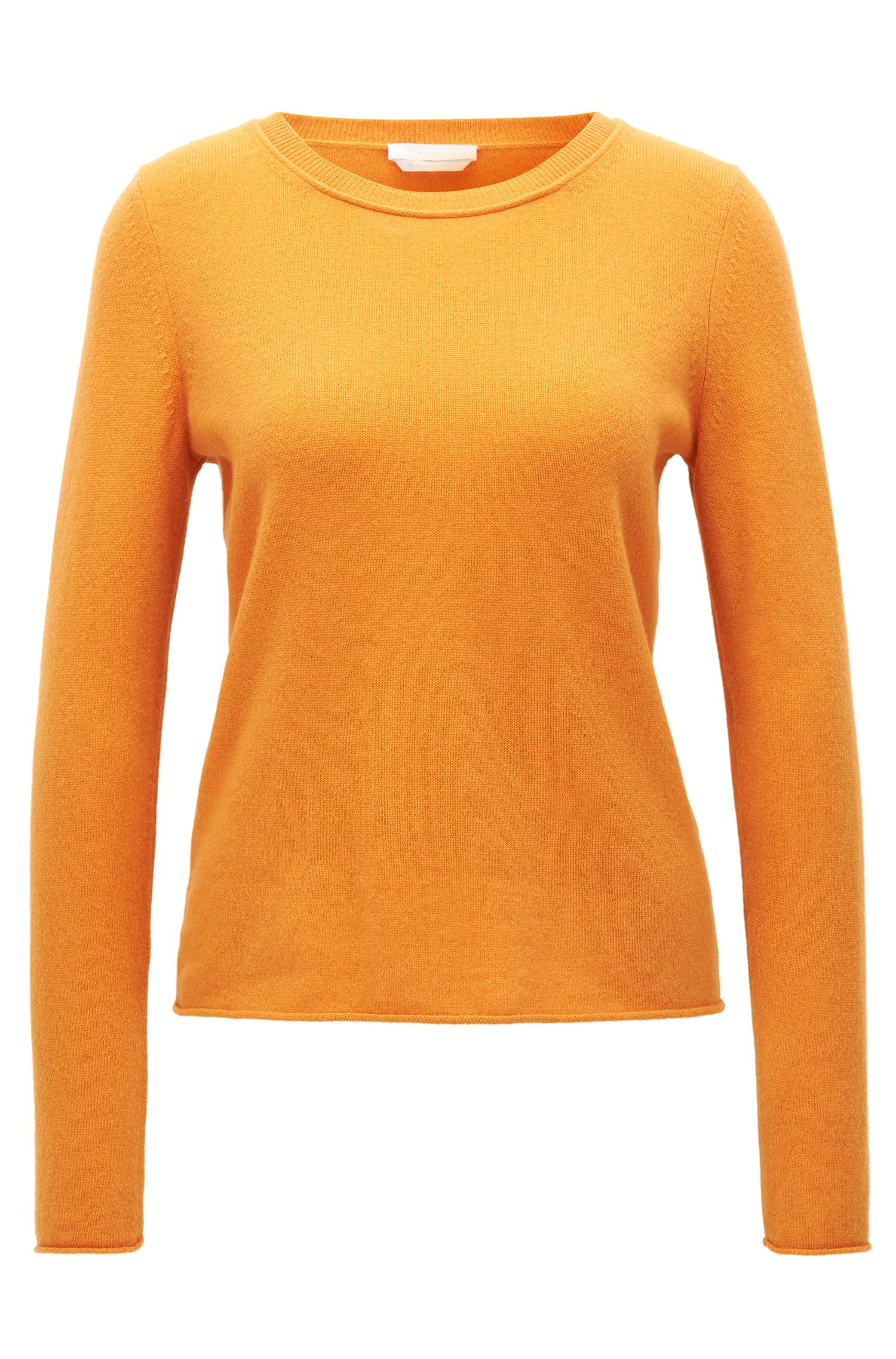 Cashmere sweater with rolled edges