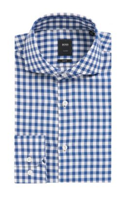 'T-Christo' | Slim Fit, Check Cotton Dress Shirt, Blue