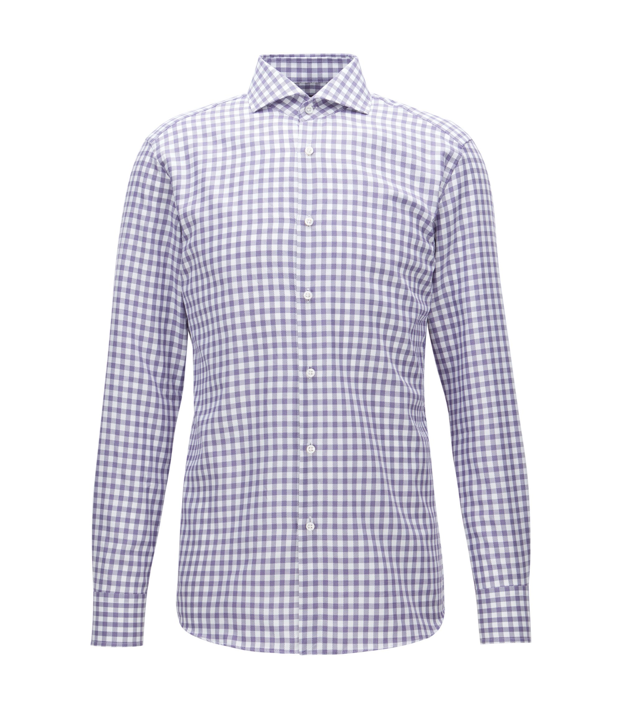 Check Cotton Dress Shirt, Slim Fit | T-Christo, Purple