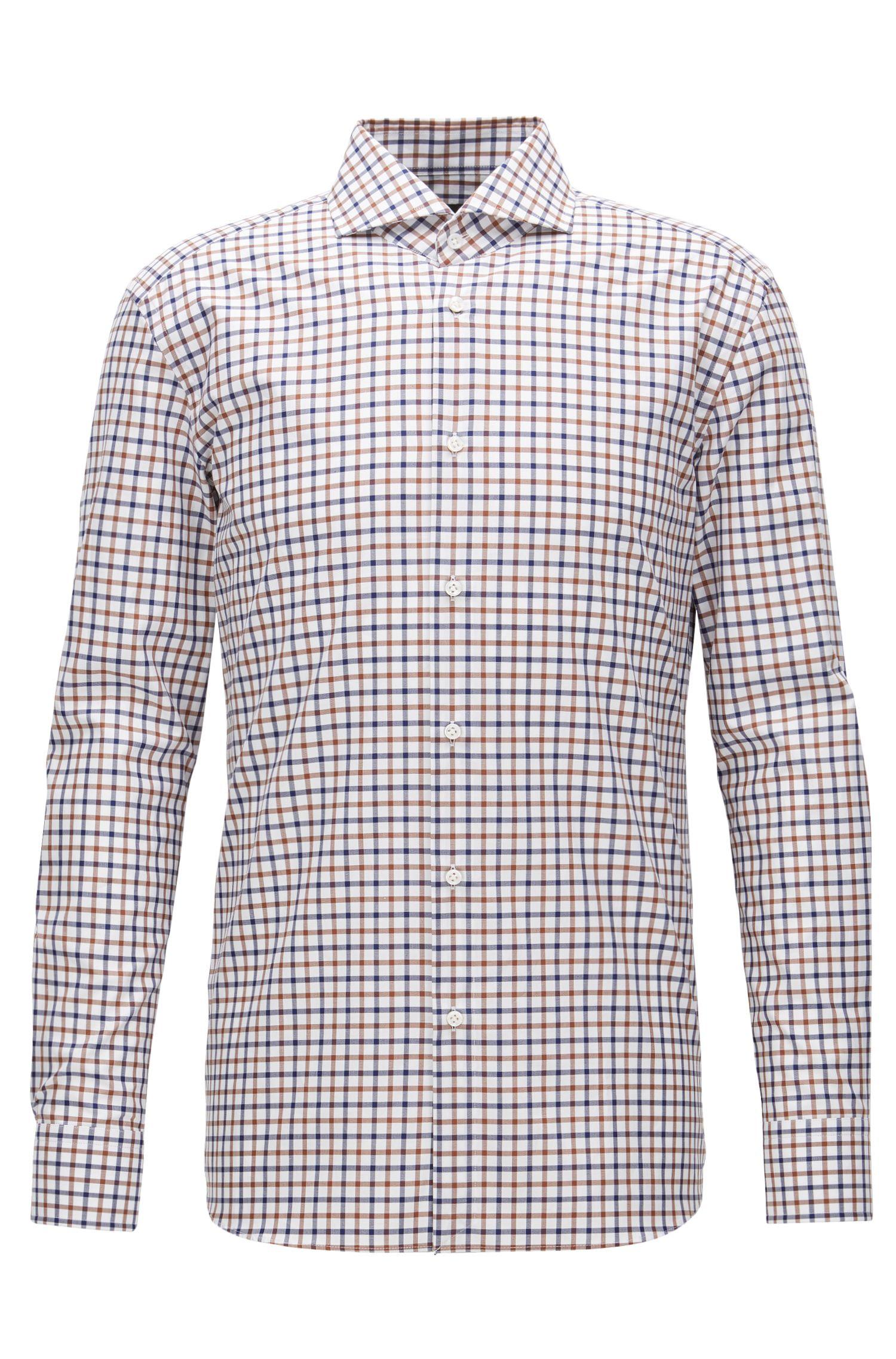 Check Cotton Dress Shirt, Slim Fit | T-Christo